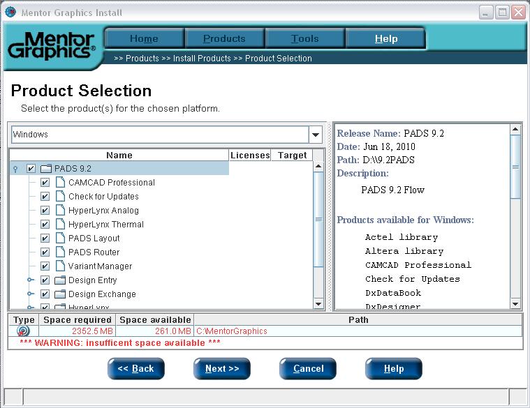 Installing PADS on Windows XP